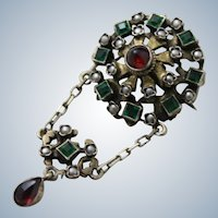 Antique Hungarian 800 Silver Pendant Early 1900's Brooch With Seed pearls, and Garnet From Budapest