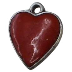 Vintage 800 Silver Red Heart Charm for Bracelet