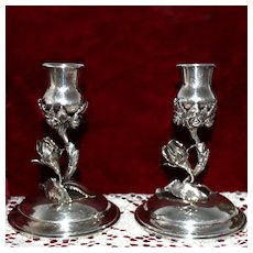 Rare 800 Silver Rose Candlesticks Art Deco Era Floral Candle Holders From Weisbaden Germany