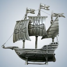 800 Silver Galleon Ship Miniature Vintage Silver from Italy