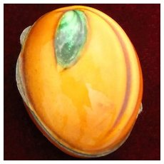 Italian 800 Silver and Enamel Apricot Pill Box With Shaded Orange and Green Vitreous Enamel From The 1960's