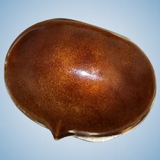 800 Silver Chestnut Pill Box With Brown Shaded Enamel 1960's Minty Perfect Inside and Out