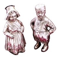 Charming 800 Silver Dutch Girl and Boy Salt and Pepper Set With Well Cast Detail