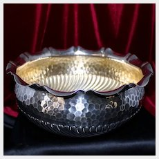 """Vintage 800 Silver Hand Hammered """"Honeycomb Style""""Bowl 723 Grams From Germany"""