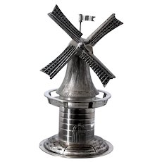 Vintage 800 Silver Dutch Windmill Figurine With Spinning Blades and Ropes and Flag 3 Dimensional Figural Charmer