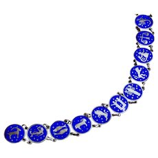 Blue Enamel Zodiac Signs Theme 835 Silver Bracelet In Excellent Condition