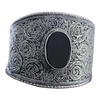 HUGE 900 Silver Upper Ankle or Arm Cuff With Stunning Design and Big Onyx Stone on a One of a Kind Treasure