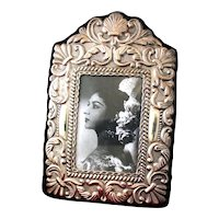 Exquisite 900 Silver Mid 20th Century Picture Frame in Spanish Colonial Era Motif on Wood Backing