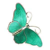 Sterling Enamel Butterfly From Norway By Hroar Prydz Solid Silver Perfect Green Guilloche