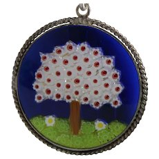 Cheerful Sterling Tree Pendant With Millie Fiore Style Glass in Solid Silver Bezel