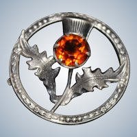 Victorian Sterling Thistle Pin With Faceted Citrine Antique Solid Silver Brooch