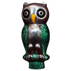 Unique Sterling Owl Box With Lovely Plumage in Green Enamel Vintage Figural Italian Charmer