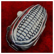 """800 Silver Italian Ear of Corn Trinket Box 2"""" With Charming Detail From 1960's"""