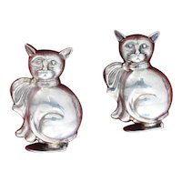 Charming 800 Silver Cat Salt and Pepper Shakers Adorable Figural Silver