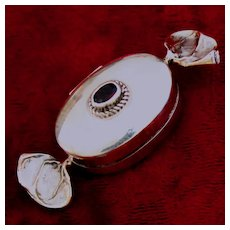 SWEET! Sterling Candy Pill Box w/ Faceted Glass Ruby, Perfect Little Bonbon With No Engraving or Monogram
