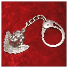 Sterling Cherubic Guardian Angel Fob on 800 Silver Italian Key Ring With Hallmarks And Lovely Figural Angel