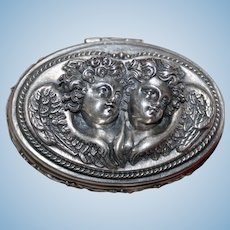 Breathtaking Sterling Angel Box With Romantic Winged Cherubs and Perfectly Caste Dimensional Details