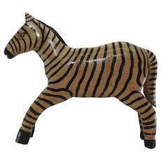 Vintage Hand Carved Zebra From Africa