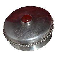 Handsome Trinket Box 2 Inch Round From UK With Agate Stone Twisted Applied Border