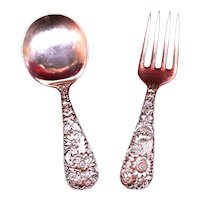 Antique Baby Spoon and Fork Set In Repousse Pattern By Kirk Circa 1920's, Very Pretty & Minty