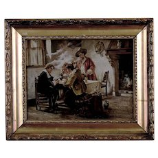 Antique Painting With Men Playing Cards Possibly Dutch Late 19th Century Oil on Canvas
