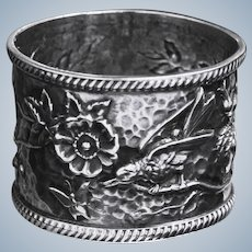 Antique Napkin Ring With Bird Blossoms and Butterfly Japonaiserie Sterling Treasure From UK