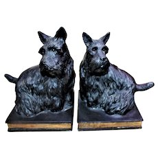 Art Deco Pair of Scottish Terrier Dogs Book Ends With Wonderful Detail & CHARM!