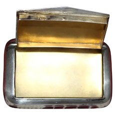 900 Silver Snuff or Pill Box Has Unique  Swinging Hinged Door,  Machine Engraved Lid, Perfect Gold Vermeil Interior