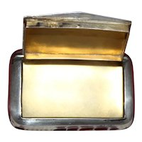 Austrian 900 Silver Snuff or Pill Box Has Unique  Swinging Hinged Door,  Machine Engraved Lid, Perfect Gold Vermeil Interior