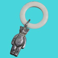 1968 British Sterling Teddy Bear Baby Rattle With Teething Ring From Birmingham