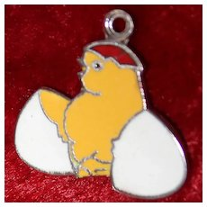 Yellow Baby Chick Breaking Out of Egg Sterling Charm With Enamel For Charm Bracelet or Zipper Pull