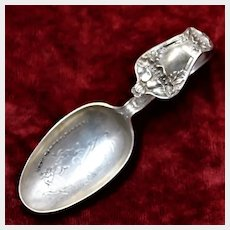 Antique Sterling Baby Spoon For Baby Girl With Hey Diddle Diddle Cat and The Fiddle Motif