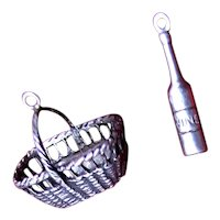 Basket and Bottle of Wine Sterling Charms Perfect for Charm Bracelet