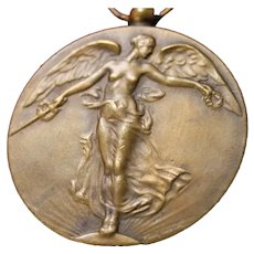 Perfect Antique Bronze Medal Angel w/ Sword & Laurels French Script on Back & Free Shipping