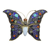 1990's Sterling Butterfly Pin With Turquoise Jade and Agate