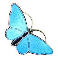 Norwegian Sterling Butterfly With Sky Blue Enamel Guilloche Wings Made Circa 1970 So Vintage and Vibrant