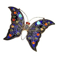 Sterling Butterfly Brooch in Asian Motif With Cabochons Enamel and Gold Vermeil