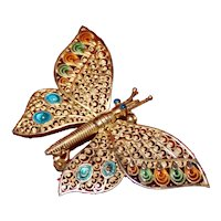 Sterling Butterfly With Moving Wings and Enamel Detail From Germany