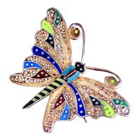 Sterling Silver Filigree Butterfly From Portugal With Colorful Enamel and Light Vermeil Finish
