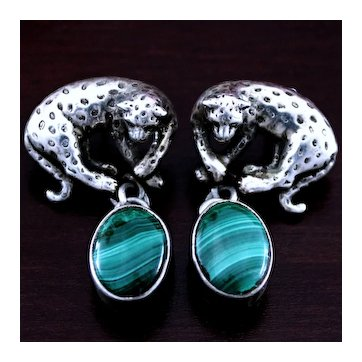 1990 Jaguar and Malachite Sterling Earrings By Carol Felley, Southwestern Silver Artist in Leopard or Big Cat Motif
