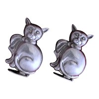 Sterling Cat Figural Salt and Pepper Shakers From Portugal Vintage Silver Kitty Pots