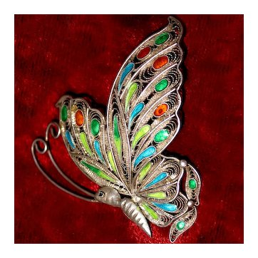 Chinese Export Silver Filigree Butterfly With Enamel Details
