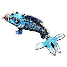 Antique Chinese Export Silver Articulated Fish With Sky Blue Enamel Work C. 1900-1920