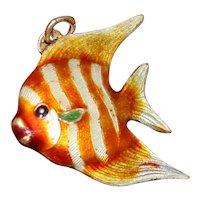 Old Chinese 900 Silver Fish Orange Stripes Enamel Angelfish Tang Hand Painted OOAK