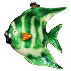 Old Chinese 900 Silver Fish Green Stripes Enamel Angelfish Tang OOAK