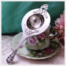 Sterling Chinese Tea Strainer With Thick Applied Motifs 7.5 Inches & Free Shipping