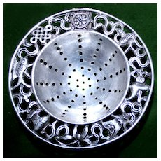 Antique Chinese Export Silver Tea Strainer With Pretty Reticulated Asian Motif Border