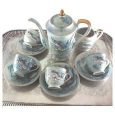 1950's Sea Dragon Porcelain Dimensional Dragons on Iridescent Aqua Blue Tea or Coffee Set for 4