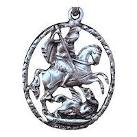 """800 Silver  St George Knight and Dragon By Fratelli Coppini Big 2.5"""" Italian Vintage Pendant With Two Sides"""