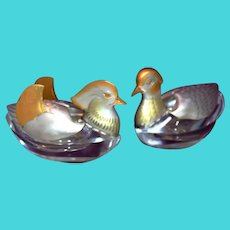 Sterling Mandarin Ducks Salt Cellars Figurines Japanese Symbol of Romantic Love & Free Shipping